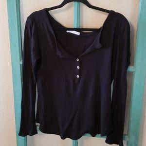Ezra S black Henley long sleeve shirt